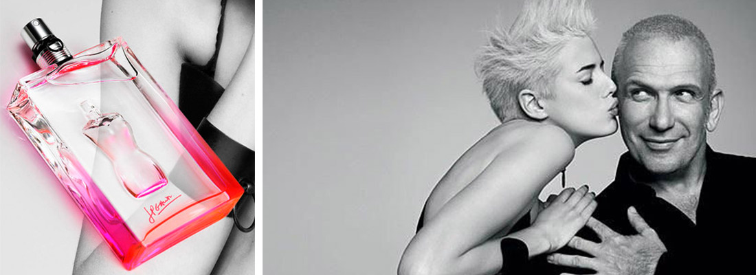 Publicité parfum Ma Dame, avec Agyness Deyn et Jean Paul Gaultier